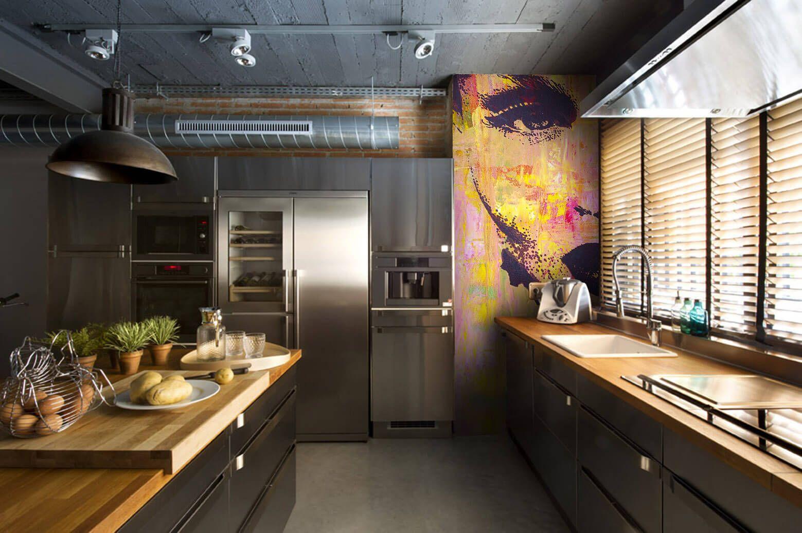 Арт-обои в интерьере кухни