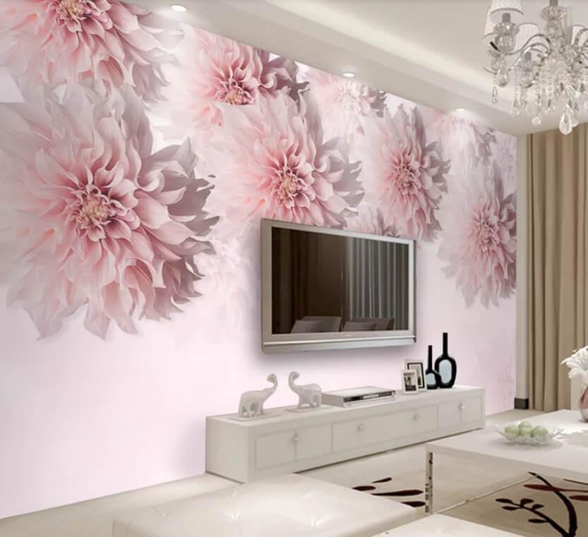 шпалери 3d для спальні з рожевими квітами